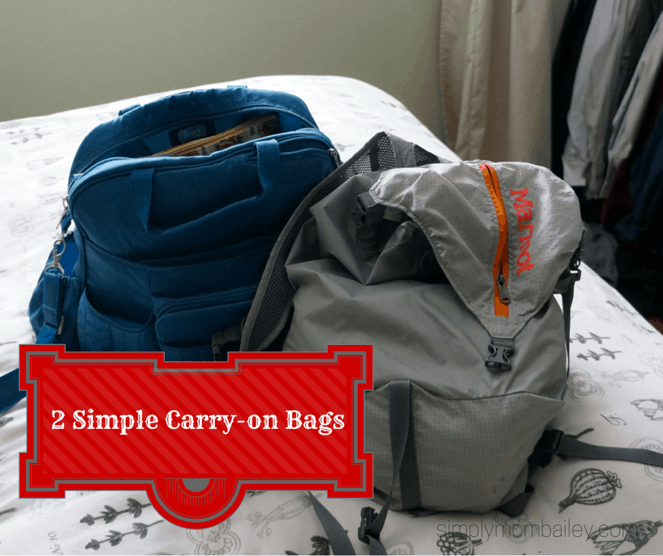 lug diaper bag and lightweight marmot bag packed for carry-on