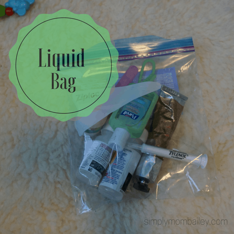 ziplock bag packed with liquids for airline travel