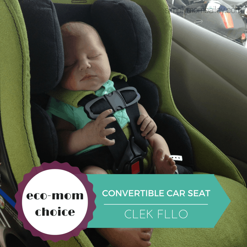 newborn in Clek Convertible Car Seat in a Nissan Leaf