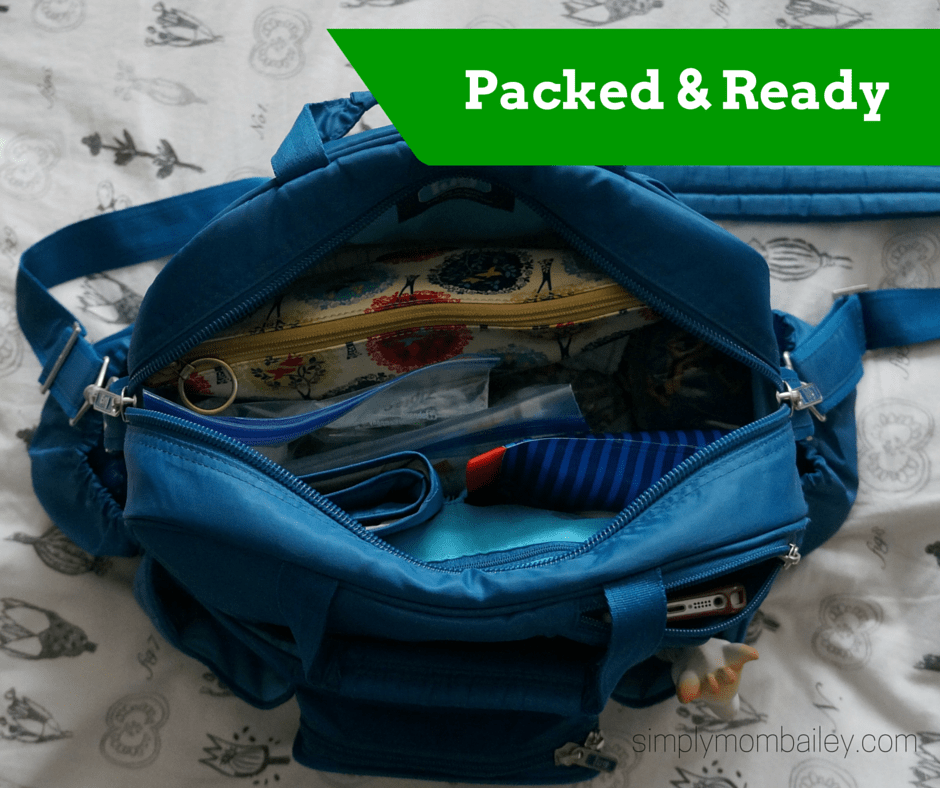 lug diaper bag packed and ready