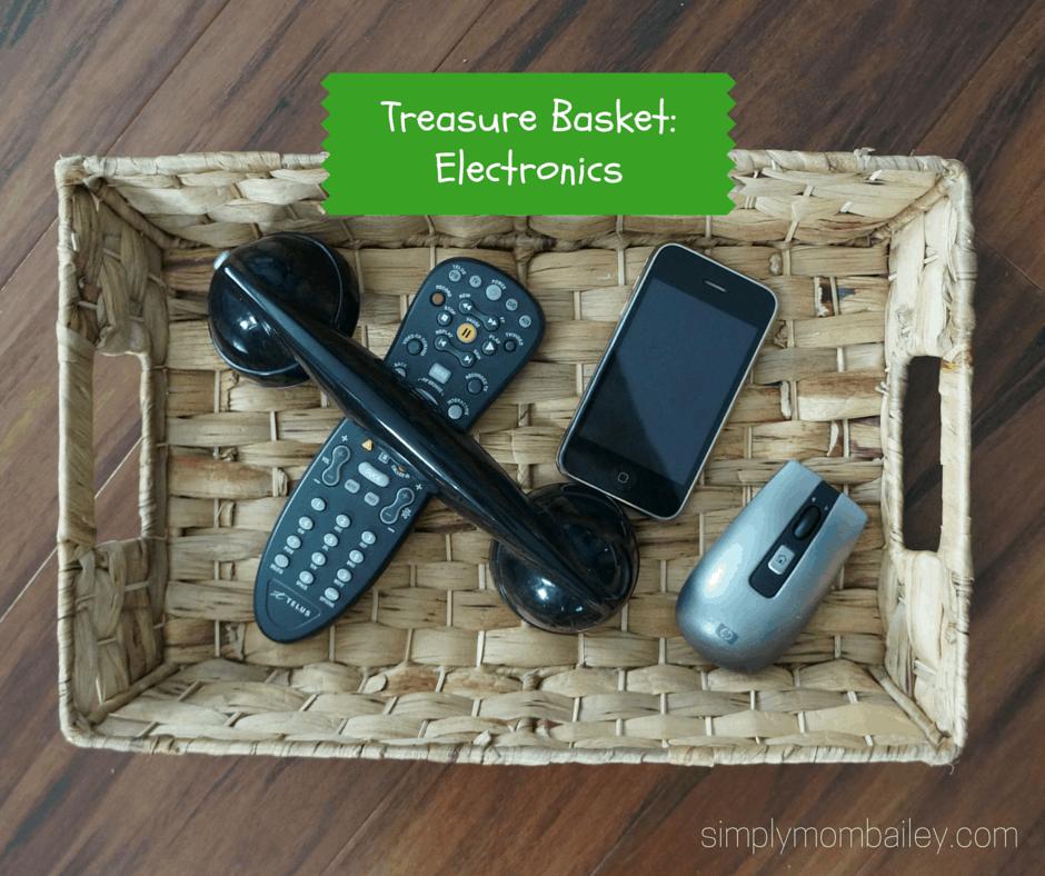 montessori treasure basket with electronics