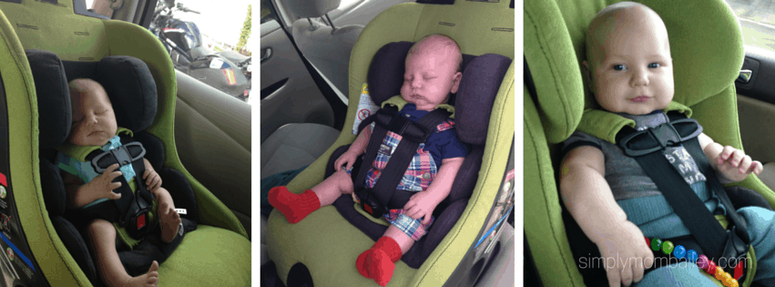 baby boy in clek convertible car seat in nissan leaf
