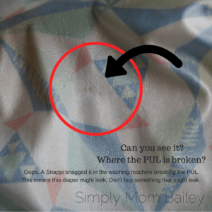 Broken PUL Example - Cloth Diaper a Toddler for $100 - BST Example - What not to buy.