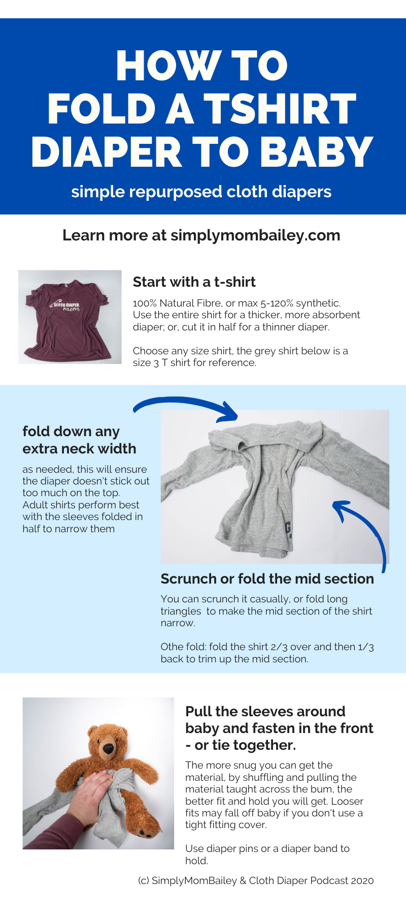 How to Fold a Tshirt onto Baby for a Diaper - Tshirt Diapers