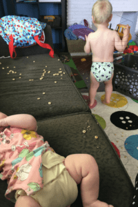 Just Cute Babies in Flat Diapers for the Flats Challenge