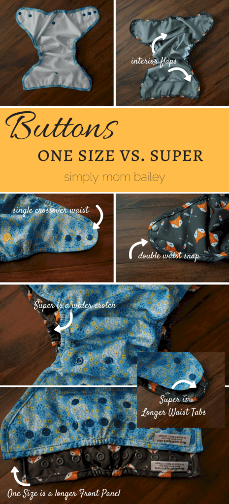 Buttons One Size Cloth Diaper versus Buttons super cloth diaper - cloth diaper covers