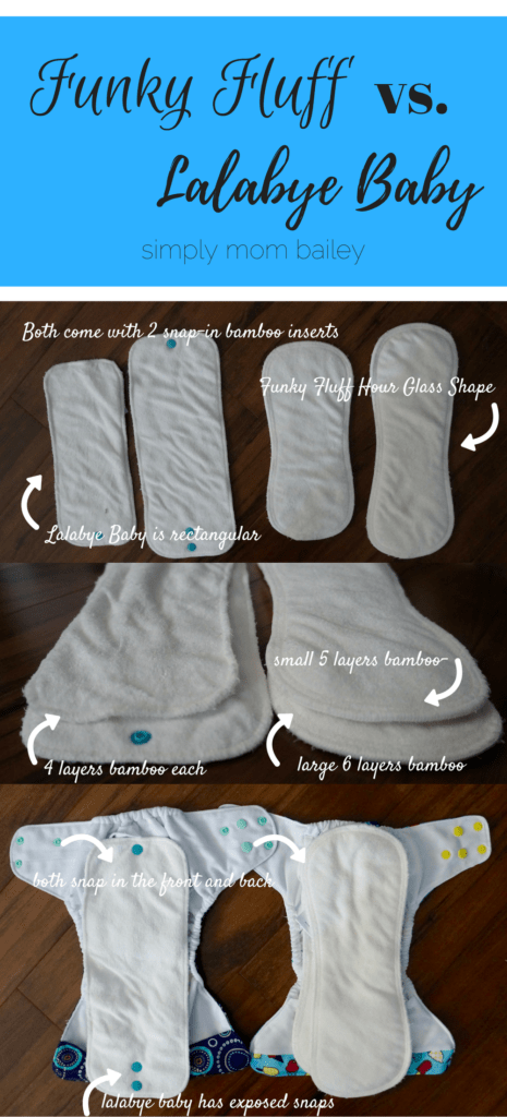 Funky Fluff vs. Lalabye Baby Cloth Diaper Comparison Inserts