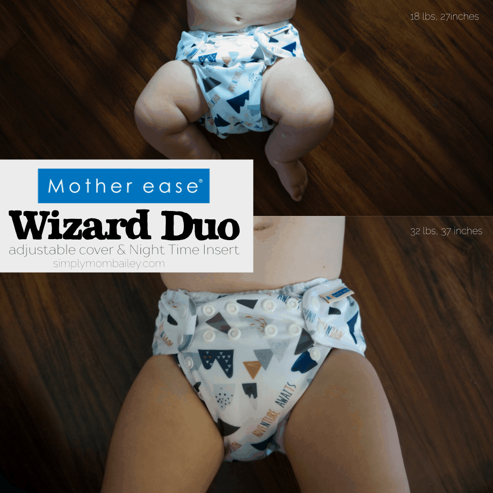 Motherease - One Size Diaper Cover - Adjustable Cover - Wizard Duo - Night time Insert