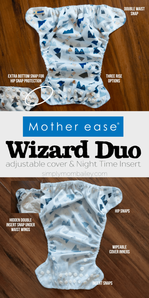 Mother ease Wizard Duo Adjustable Diaper Cover - Cloth Diaper - Cloth Diapers made in Canada - Night Time Cloth Diaper - Cloth Diaper Cover