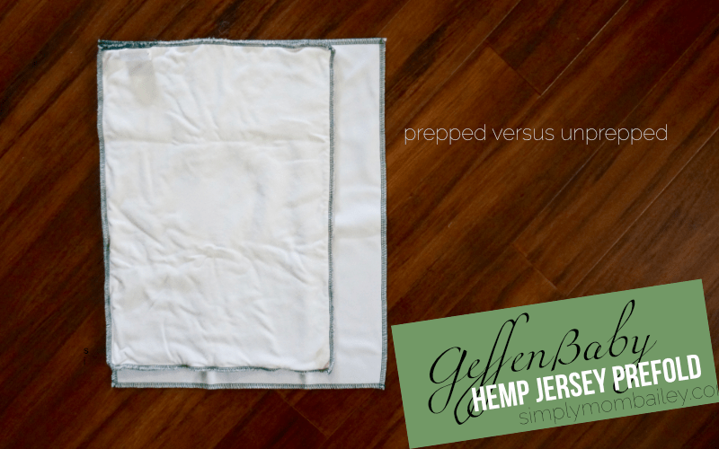 prepped geffen baby prefold cloth diaper versus unprepped Geffen Baby Hemp Jersey prefod