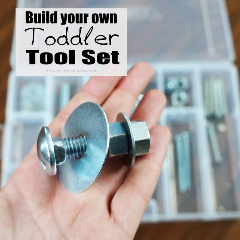 Skip the plastic toolkits with this DIY Toddler Tool Set using Real Tools - #toddlerplay #toys #diytoys - Toys for Toddlers - Fine Motor Skills - Pretend Play