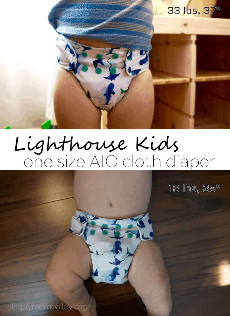LIGHTHOUSE KIDS AIO Cloth diaper - aio cloth diaper - all in one - easy cloth diapers - lighthouse cloth diaper - shark cloth diapers - cloth diapers for toddlers