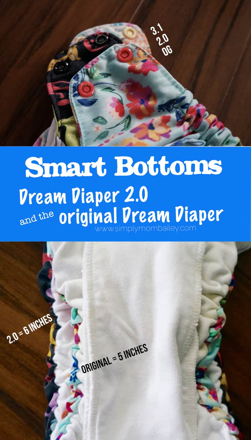 SmartBottoms Sizing Comparison of the 3.1, 2.0 and Original Diapers