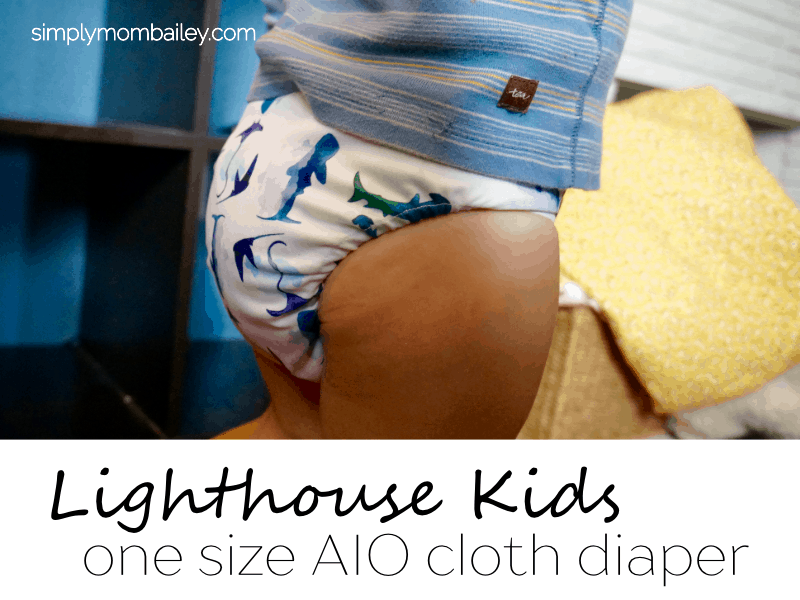 Super Trim Lighthouse Kids Cloth Diaper - AIO Cloth DIaper - Lighthouse DIaper - On a Toddler