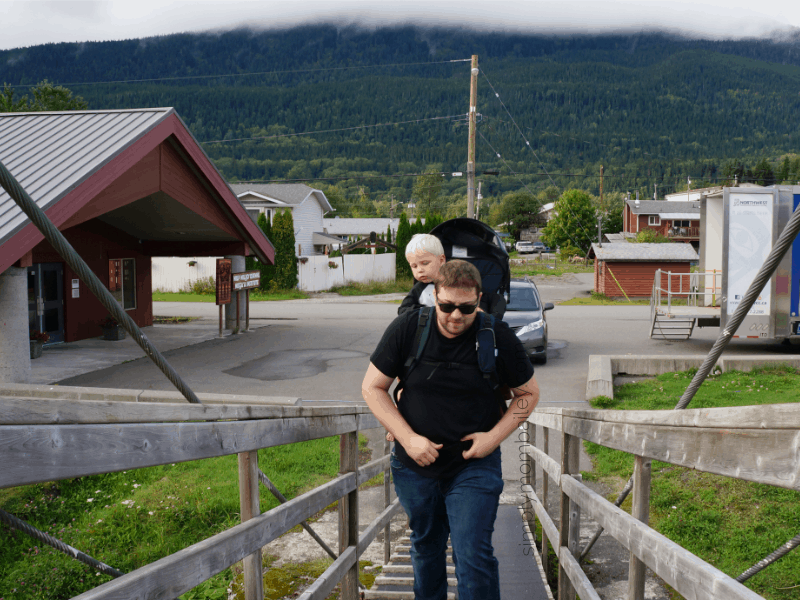 Check out the Gitwinksihlkw Suspension Bridge near Prince Rupert & Terrace in British Columbia, Canada #travelCanada #ExploreBC with kids Family Travel in British Columbia.