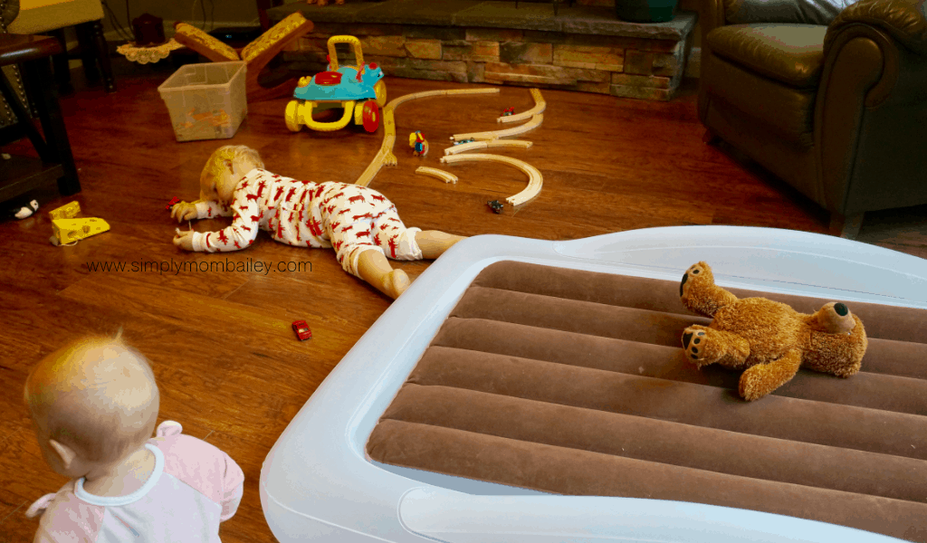 Travel Toddler Beds - Travel beds for kids. A night at Grandma's is now easier with a toddler sized inflatable mattress. The Shrunks Toddleraire Mattress is the perfect size and shape for any family travel adventure offering a safe comfortable place to sleep. #familytravel #best #babygear The ShrunksIndoor Tuckaire™ Toddler Travel Bed