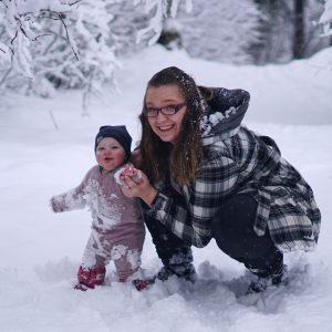 Mom and Baby in the snow in Prince George, BC