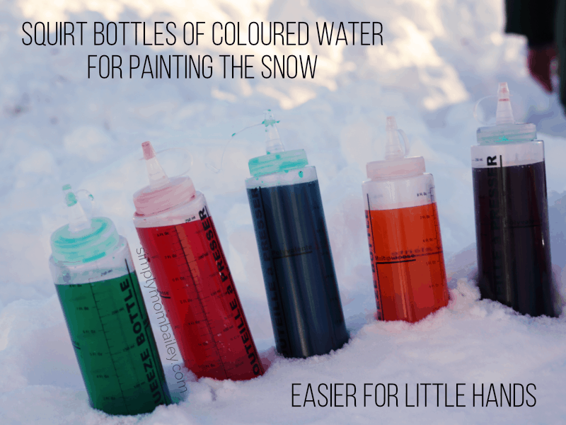Squirt Bottles of coloured water are easier for toddlers when colouring and painting the snow.