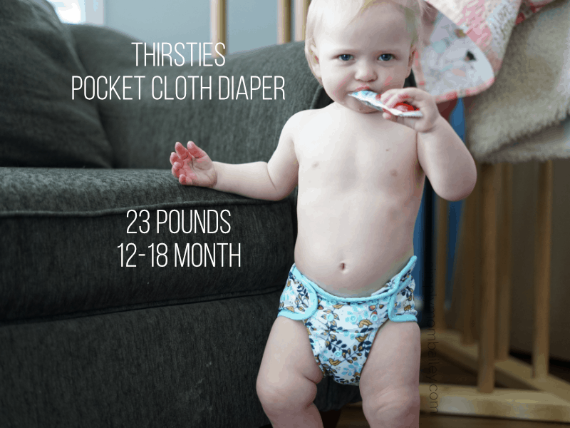 Thirsties Pocket Cloth Diaper on a 12 month old