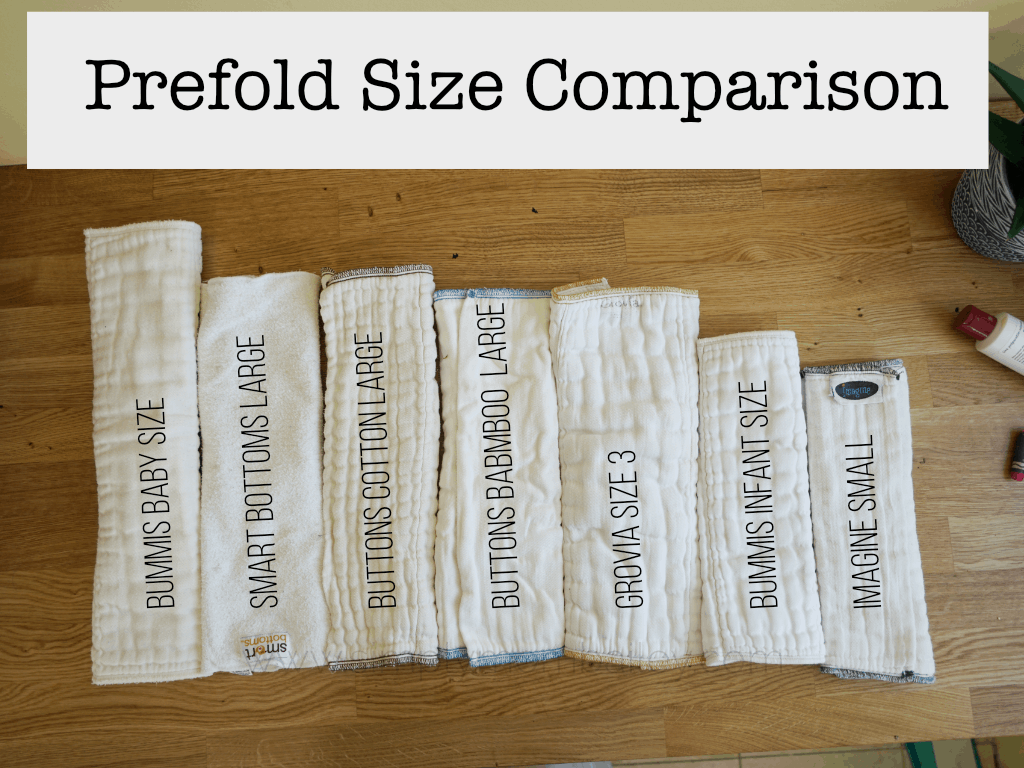 Prefold Size Comparison: Bummis, Smart Bottoms, Imagine Baby, GroVia