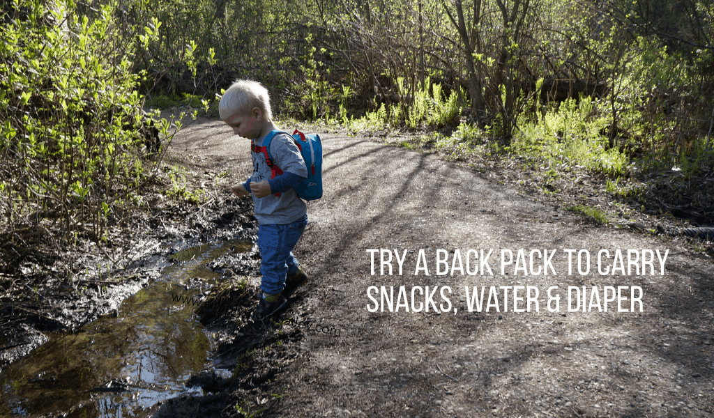 Hiking with Toddlers - Back pack with some emergency supplies