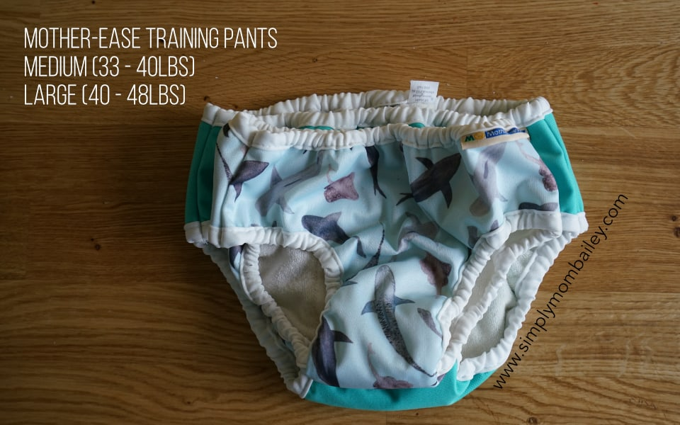Mother-ease Training Pants Size Difference between Medium and Large
