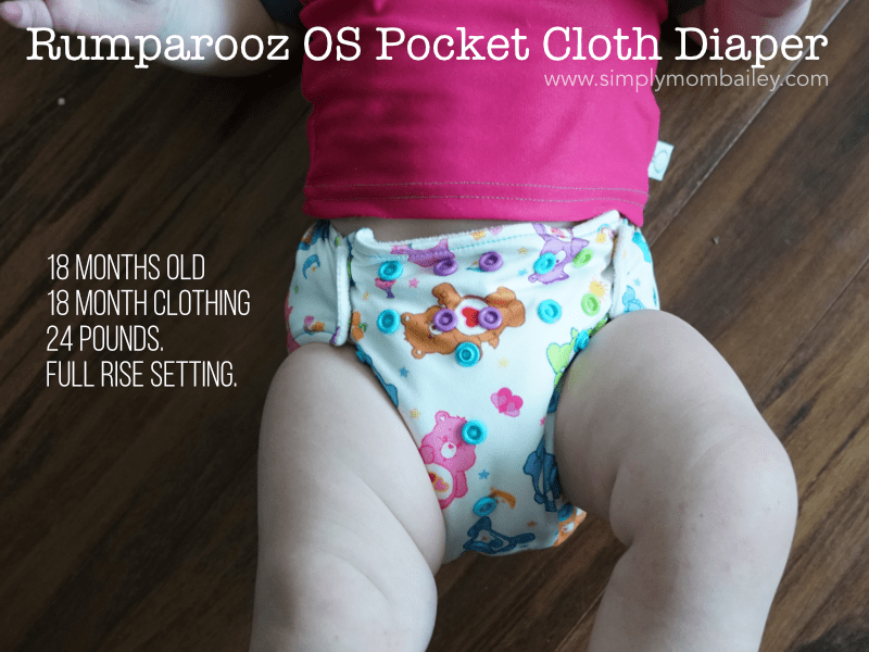 Rumparooz OS Pocket cloth Diaper fit on a 18 month old baby