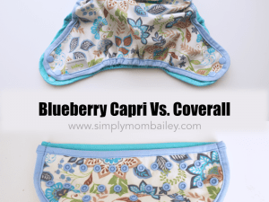 Blueberry Coverall versus Blueberry Capri sizing comparison