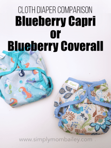 Cloth Diaper Comparison of the Blueberry Capri versus the Blueberry Coverall two similiar cloth diaper covers for babies