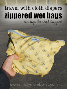 Use Zippered Wet Bags when traveling with cloth diapers to keep in the stink but be careful, they will stink