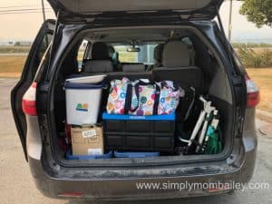 Toyota Sienna Loaded up with Things for road trip