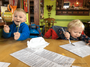 kids eating at track side cantina in smithers