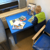 speech delay - tubes in the ear for toddler - toddler waiting in hospital waiting room