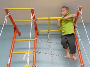 Wall Attached Climbing Structure for kids also has a ceiling mount option for climbing