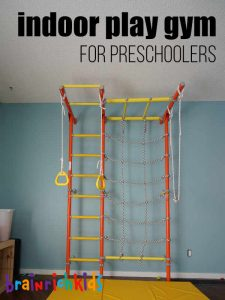 indoor play gym for preschoolers - home climbing structures for kids from Brain Rich Kids